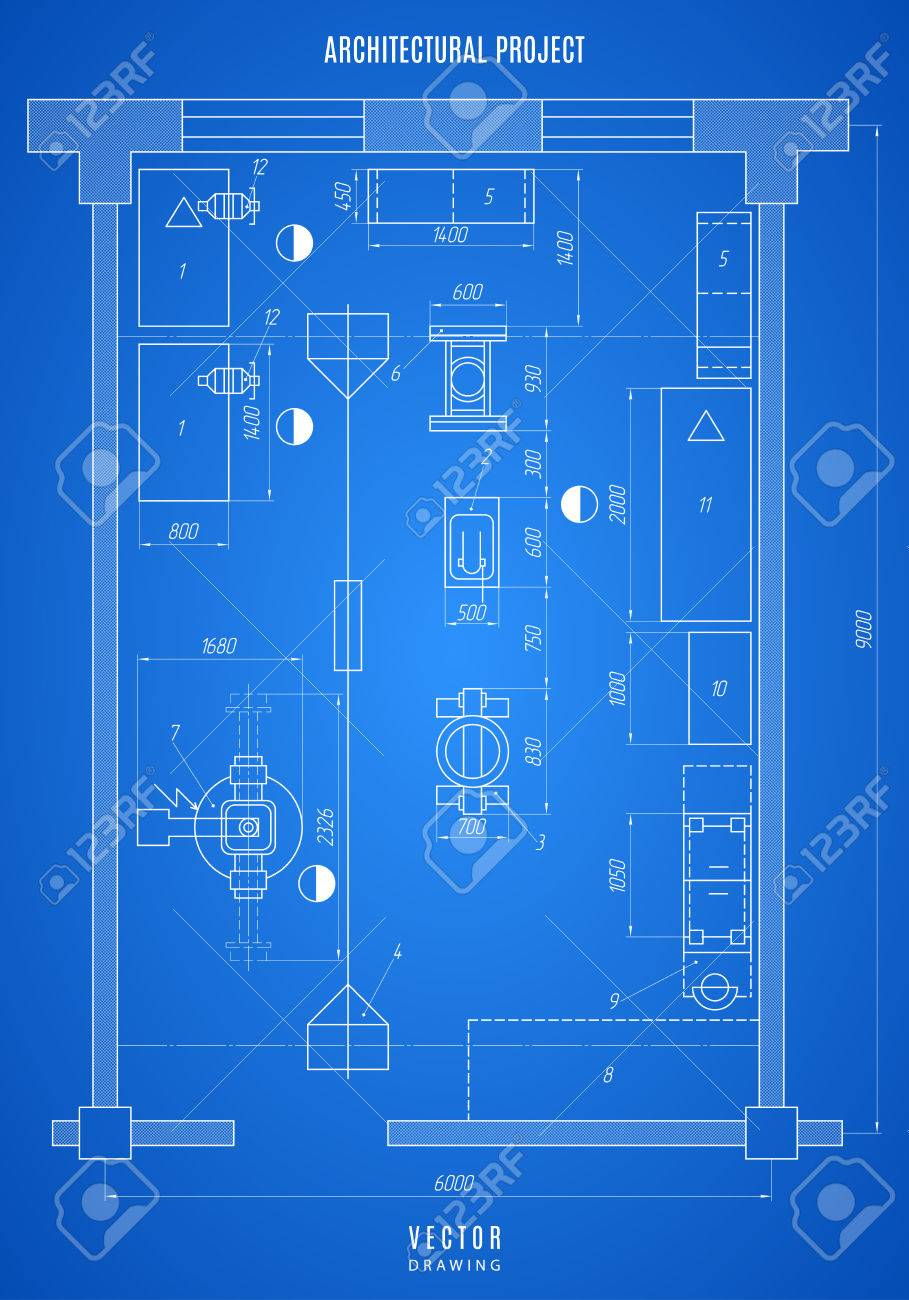 Architectural blueprint technical drawing construction plan architectural blueprint technical drawing construction plan or project on the blue background stock malvernweather Gallery