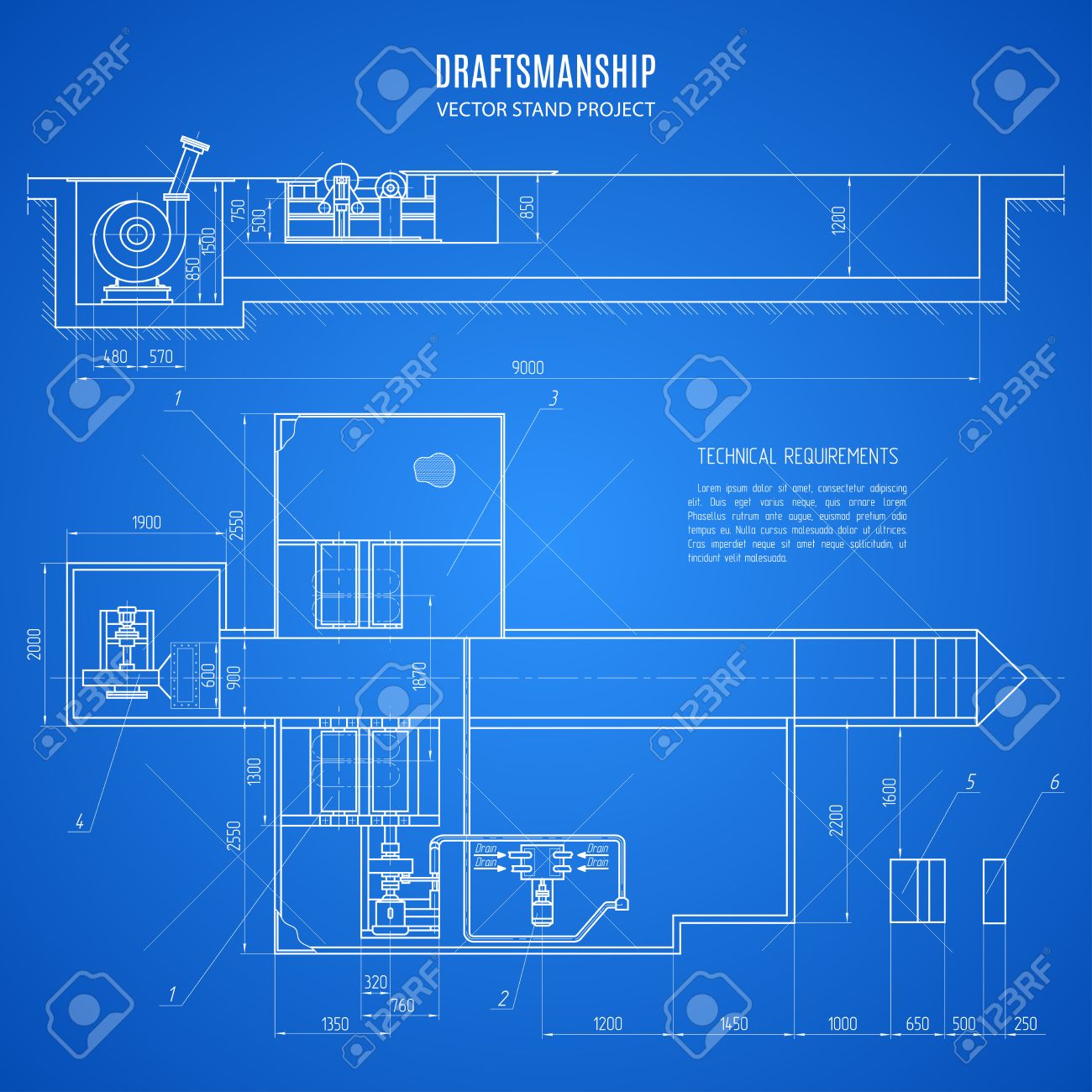 Blueprint Stand, Technical Drawing, Construction Plan Or Project On The  Blue Background. Stock