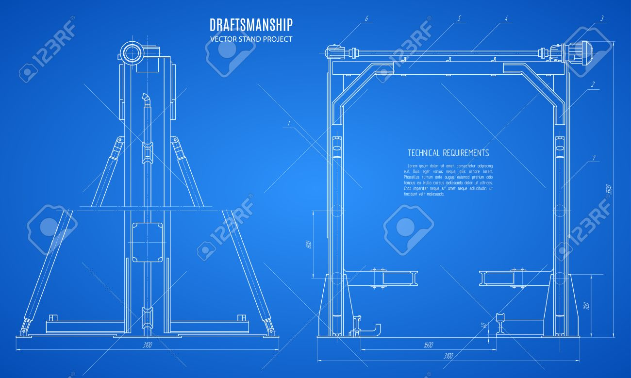Blueprint stand technical drawing construction plan or project blueprint stand technical drawing construction plan or project on the blue background stock vector malvernweather Images