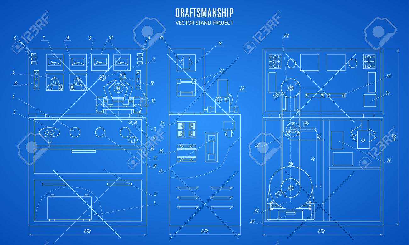 Blueprint Stand Technical Drawing Construction Plan Or Project On The Blue Background Stock