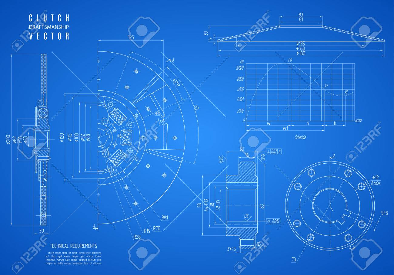 blueprint of clutch, project technical drawing on the blue background. - 61565373