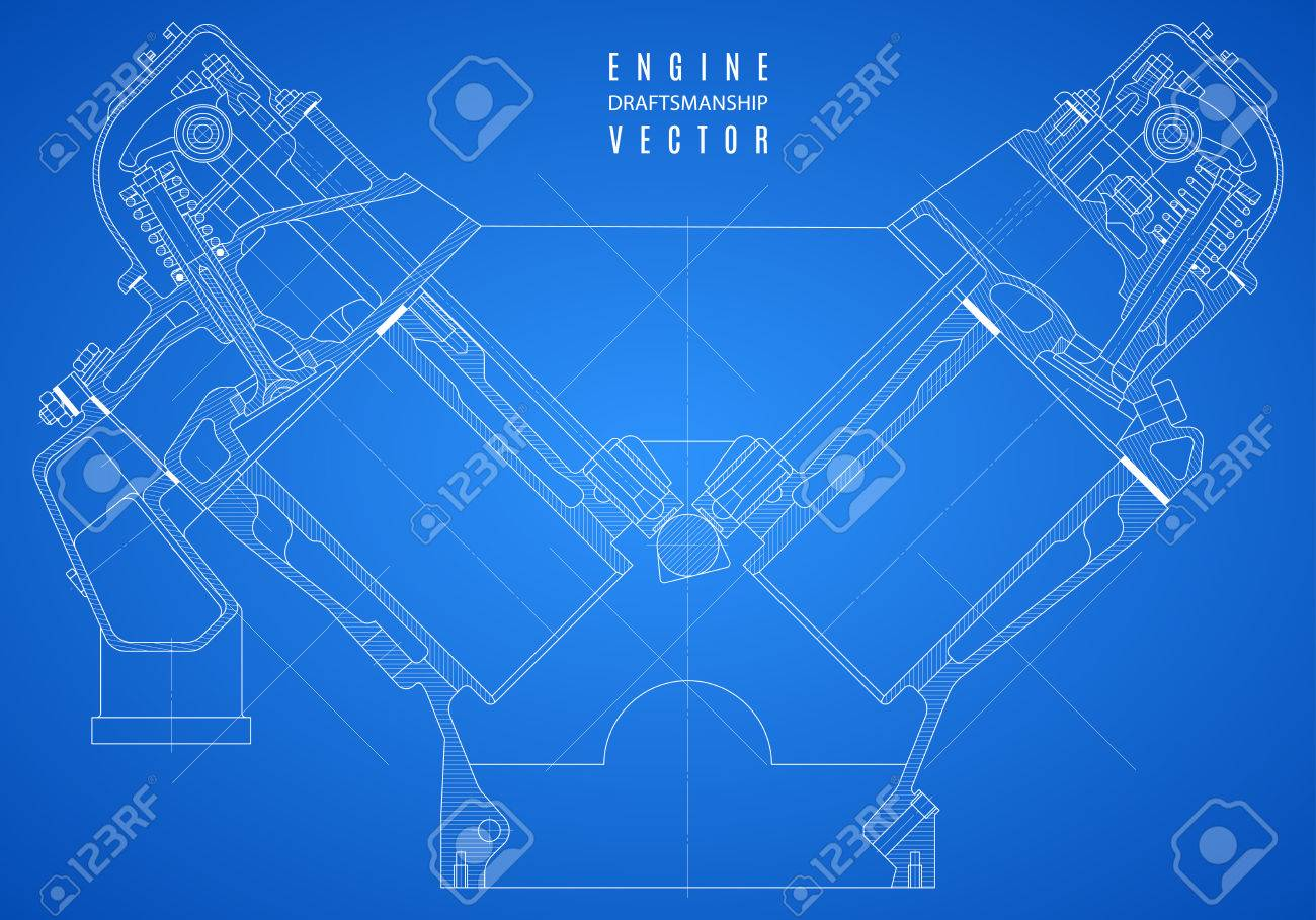 Blueprint engine project technical drawing on the blue background blueprint engine project technical drawing on the blue background stock vector 61564253 malvernweather Images