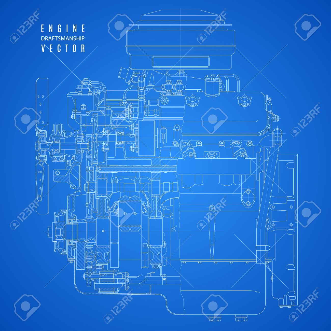 Blueprint engine diagram wiring info blueprint engine project technical drawing on the blue background rh 123rf com semi engine diagram 08 malvernweather Images