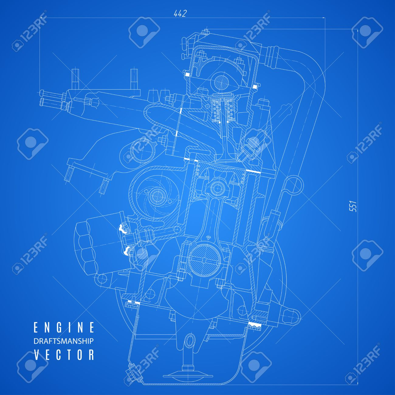 blueprint engine, project technical drawing on the blue background.  Stockfoto - 61564257