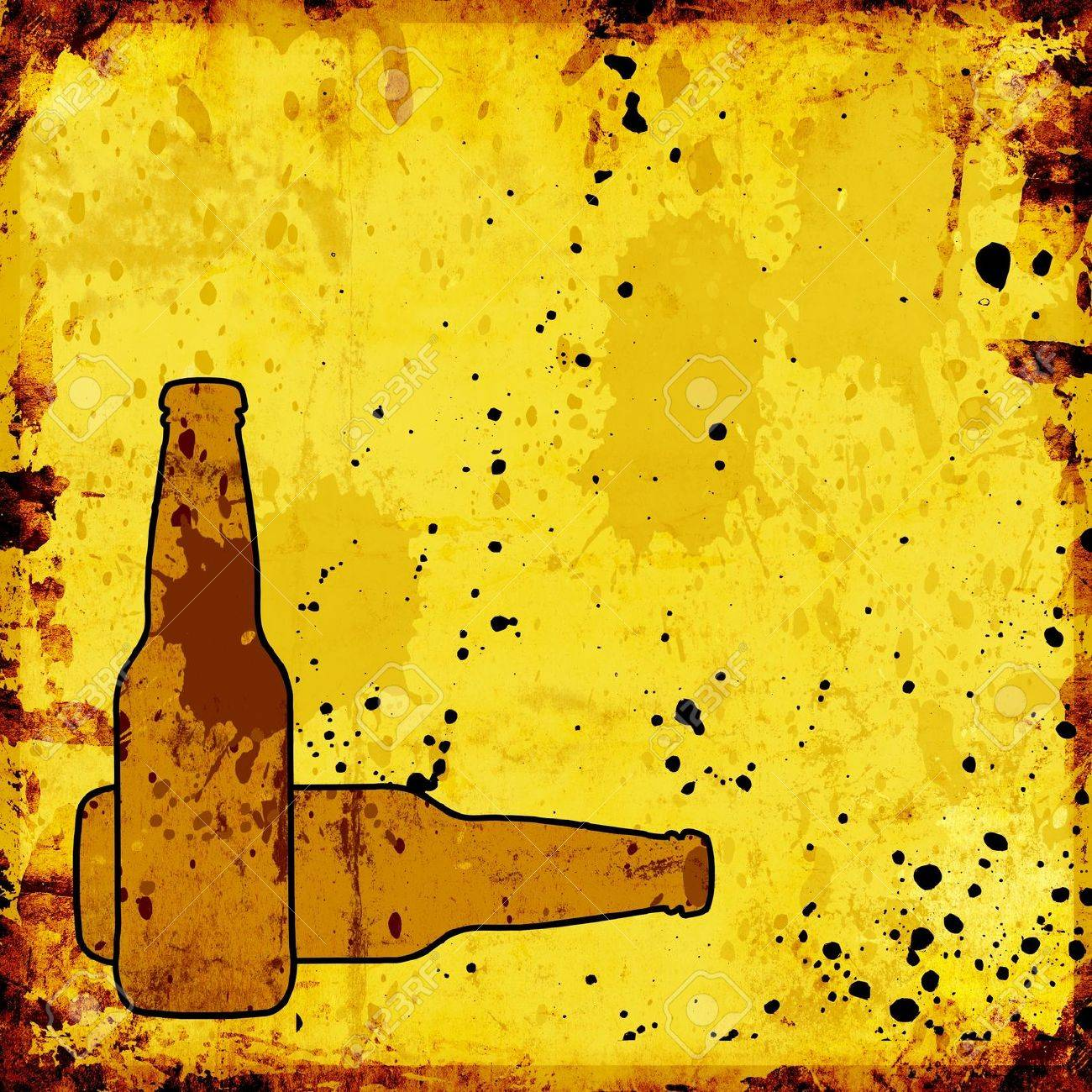 grunge background with beer bottles for menu Stock Photo - 14660921