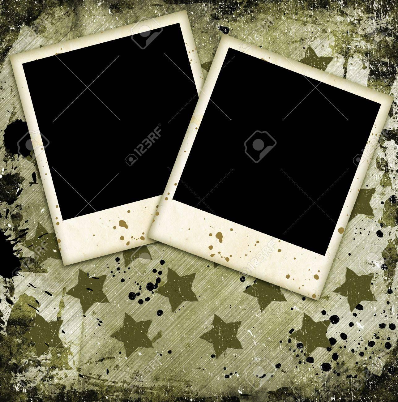 Zwei Bilderrahmen Auf Militärische Grunge Background Lizenzfreie ...
