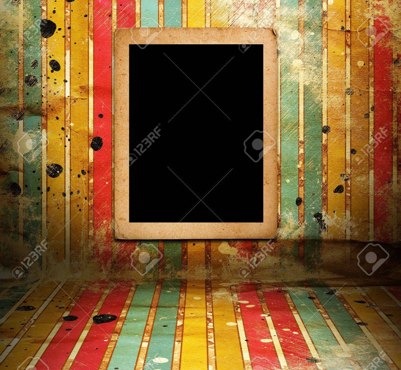 Illsutration Of Frame In Room With Striped Wallpapers Stock Photo ...