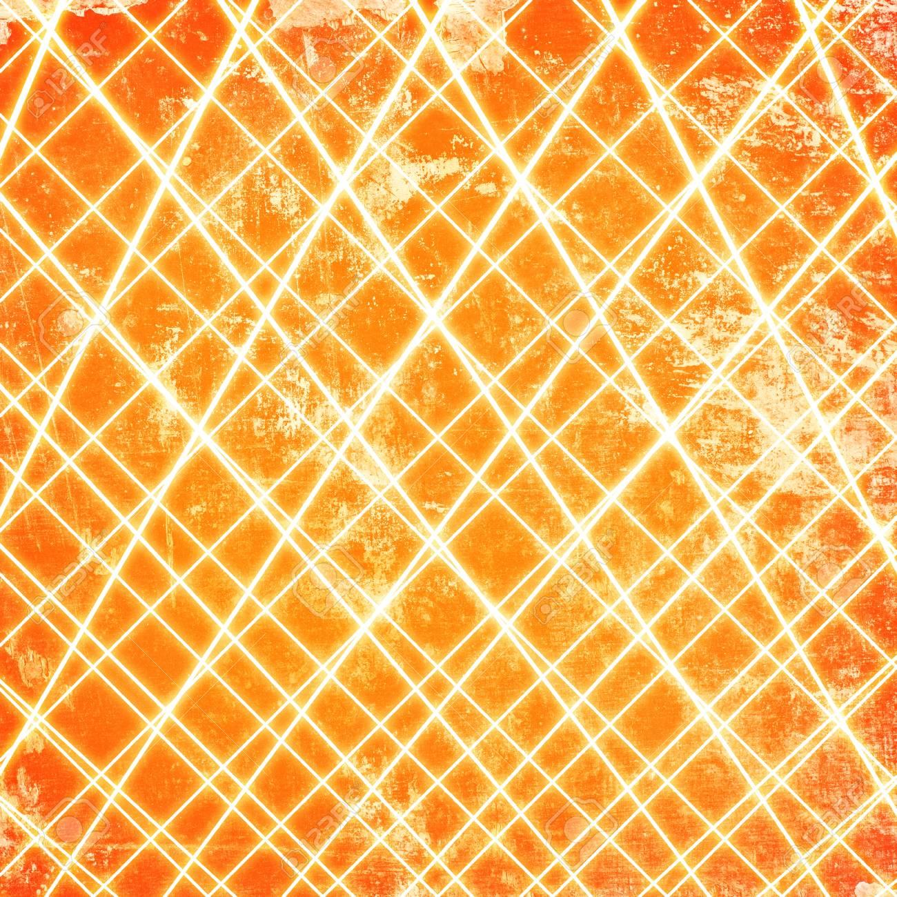 Abstract lines on grunge orange background Stock Photo - 15666098