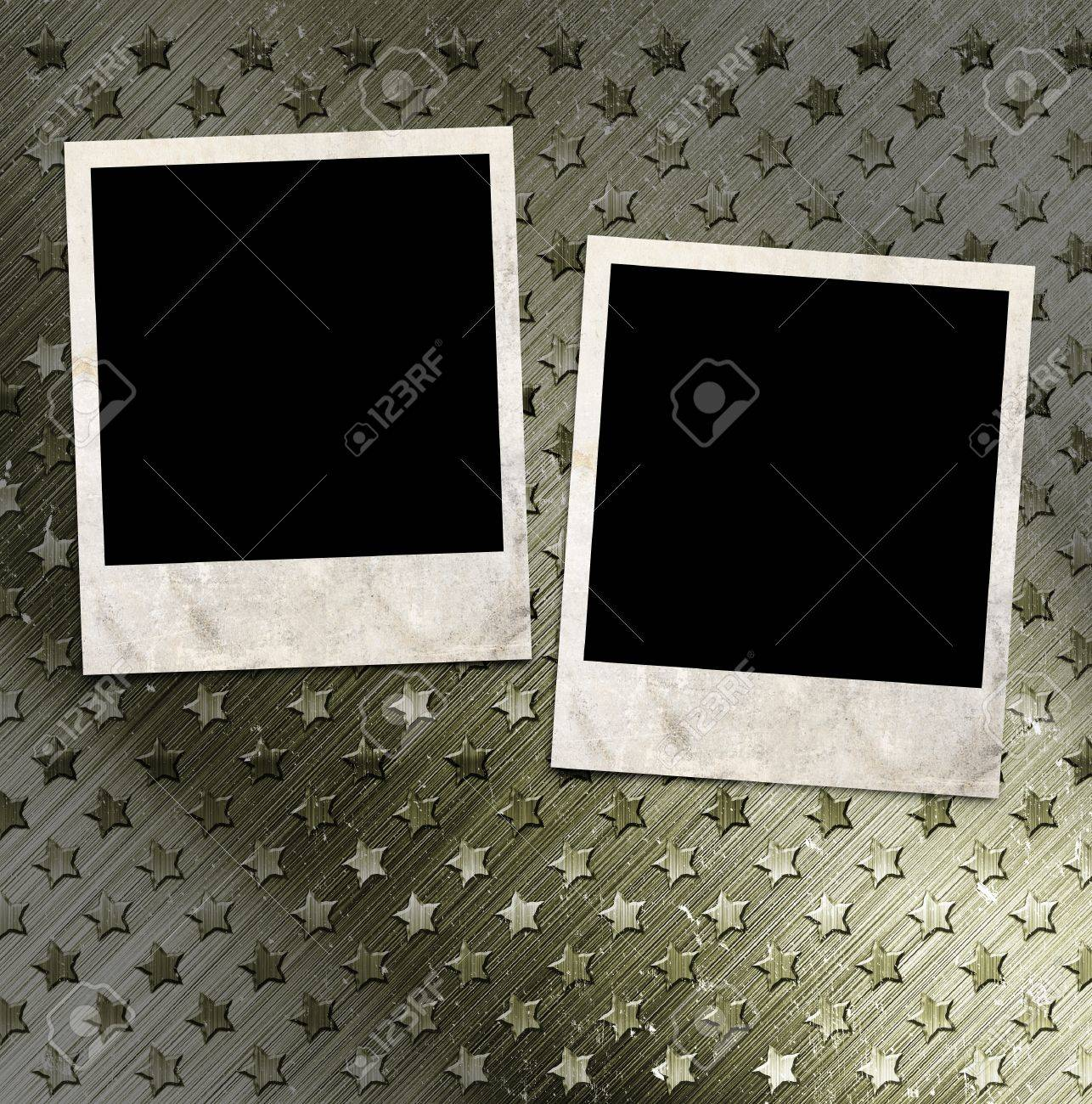 stock photo two photo frames on military grunge background