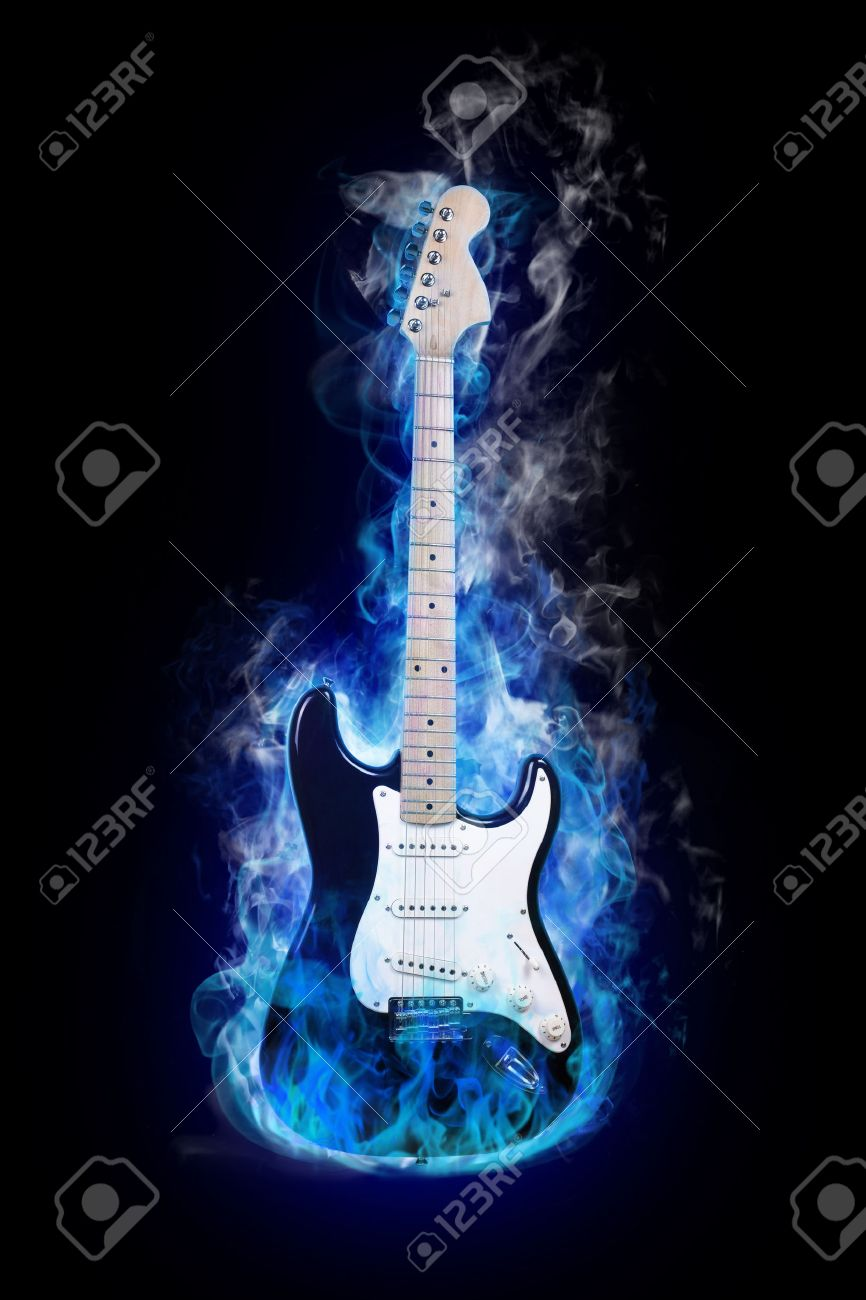 Black Electric Guitar With Flames electric guitar in flames on