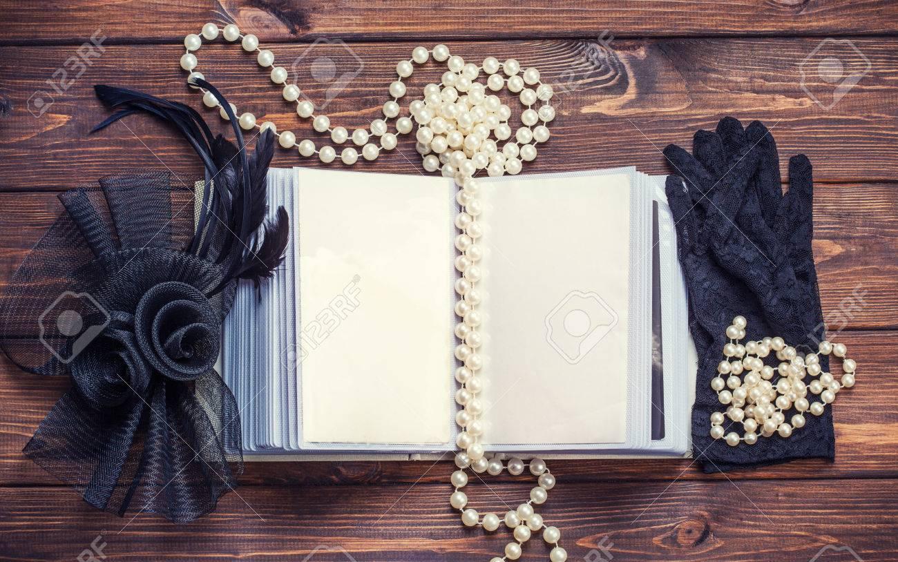 open old album and retro women s accessories on wooden background Stock  Photo - 29183968 92e8253e0b