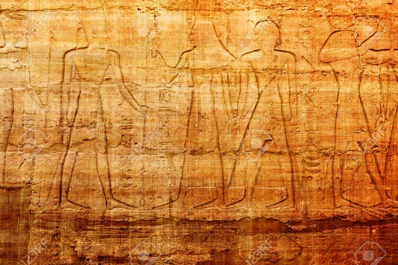 Old Egypt Hieroglyphs On Papyrus Background Stock Photo