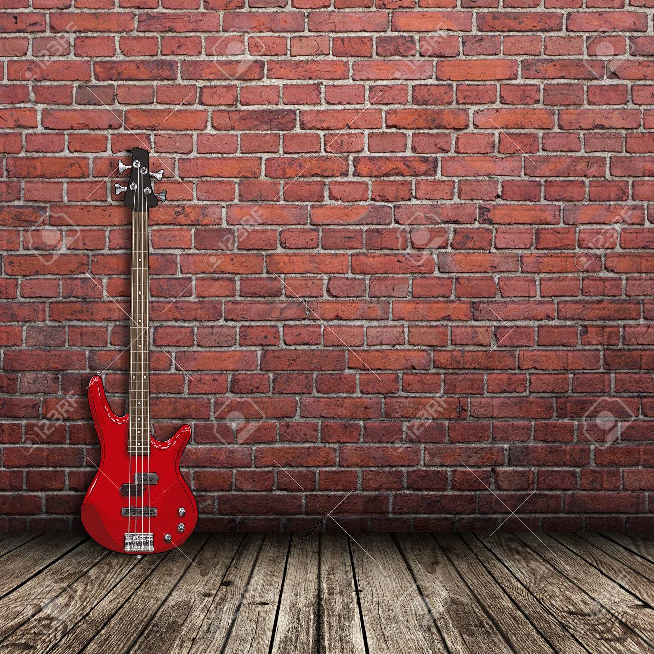 Red Electric Guitar In The Room With Brick Wall Background Stock Photo Picture And Royalty Free Image Image 47347798