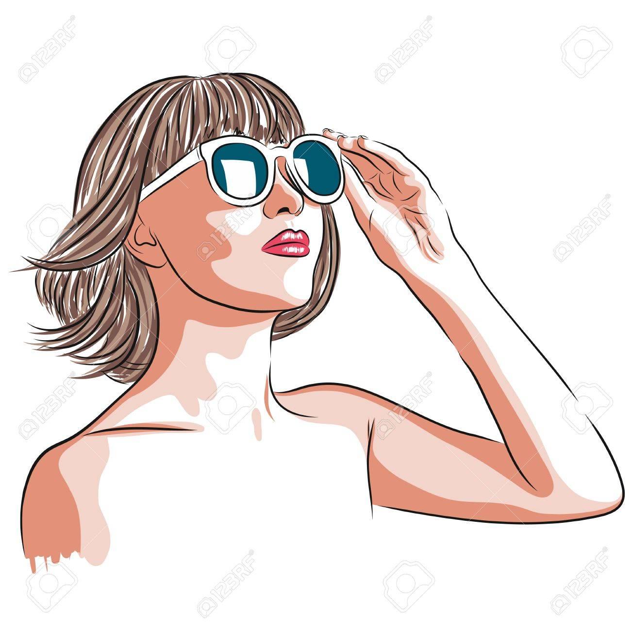 100% de garantía de satisfacción el precio más baratas original de costura caliente Ilustración vectorial de la hermosa mujer que llevaba gafas de sol blancas