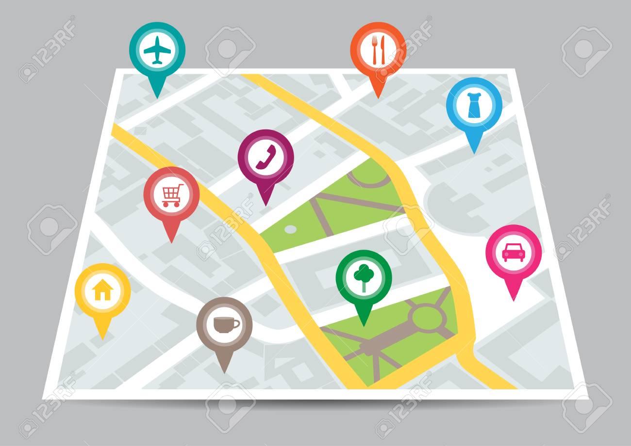 場所街の地図のベクトル イラストのイラスト素材・ベクタ - Image ...