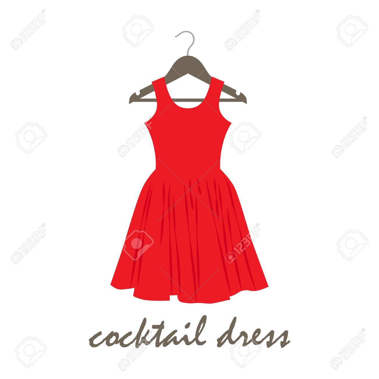Vektor-Illustration Eines Cocktail-Kleid Auf Kleiderbügel Lizenzfrei ...