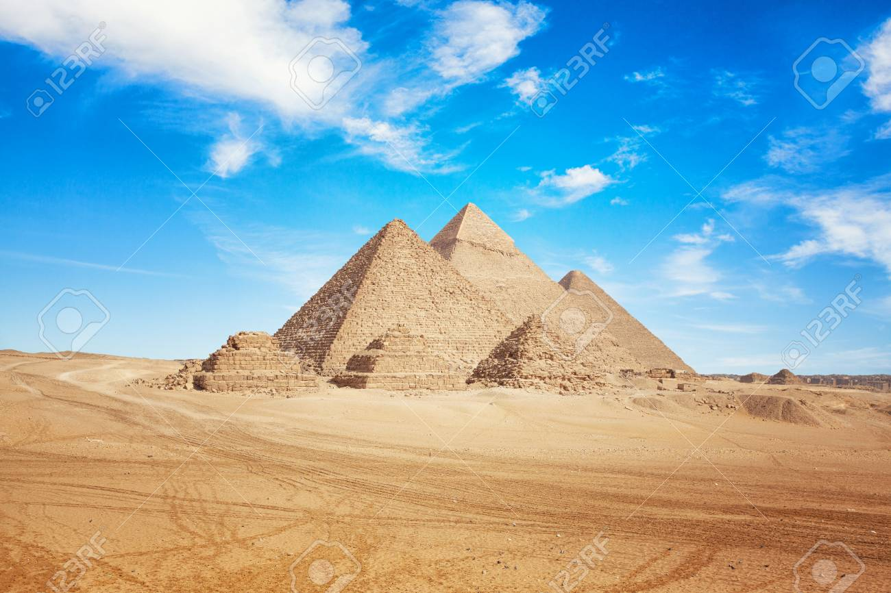 Egypt Cairo - Giza. General view of pyramids - 121845071