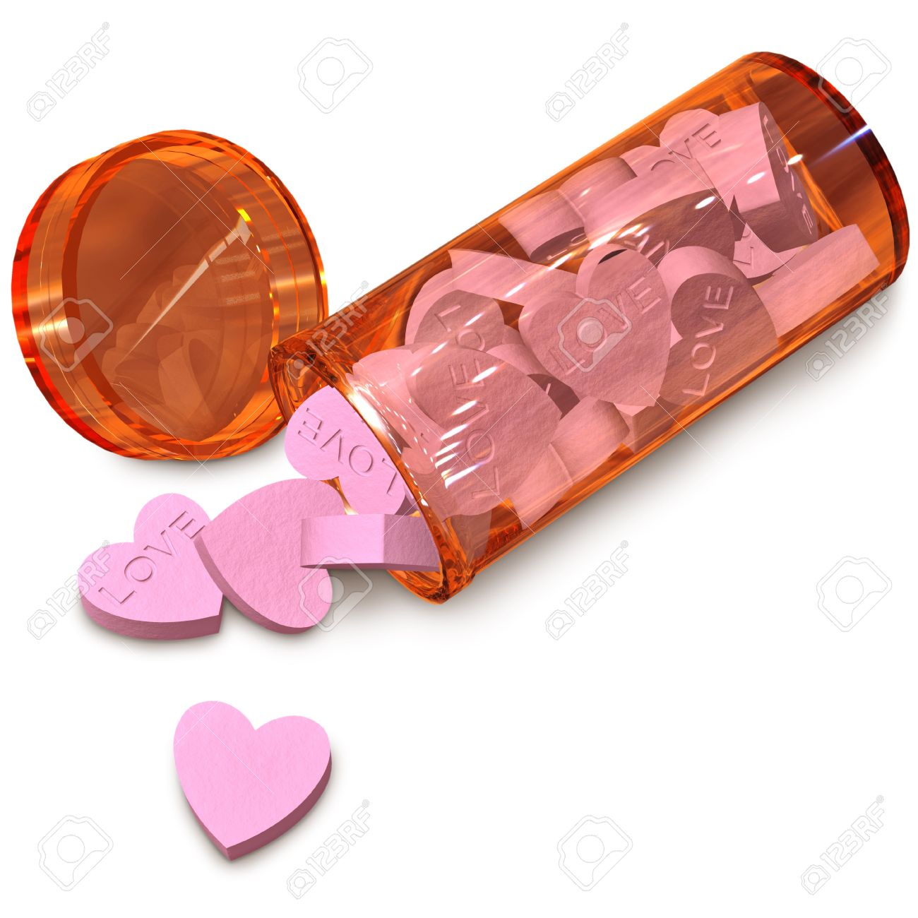 orange  tube with love pills for anti-impotence Stock Photo - 6348412
