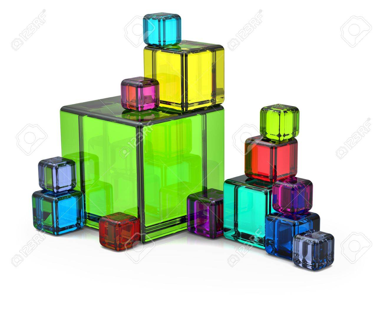Colored big and small rendered cubes for background Stock Photo - 7830458