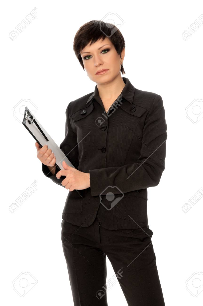 The manager with white blank paper in the hands holding an interview Stock Photo - 8498033