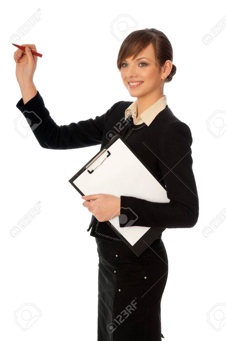 The manager with white blank paper in the hands making a presentation Stock Photo - 8509672