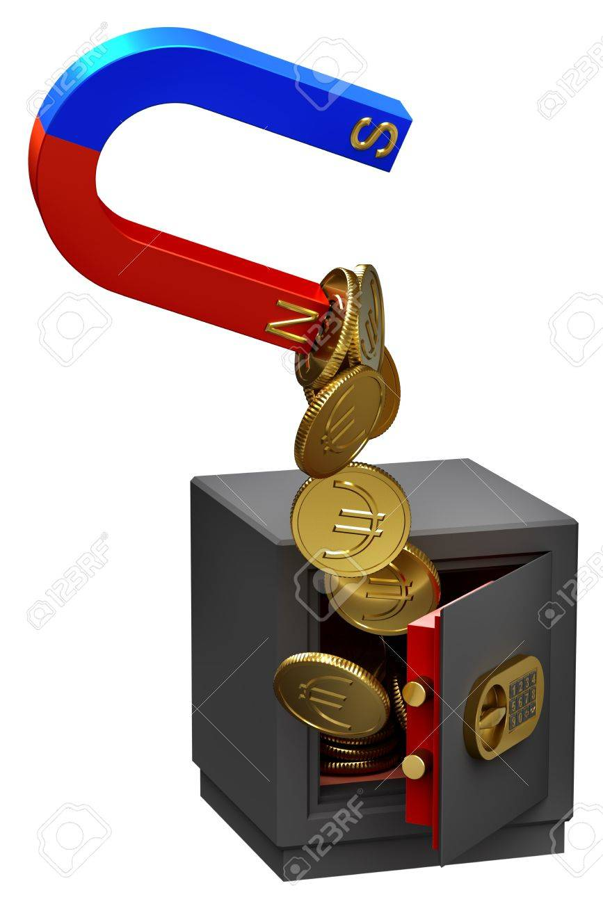 Magnet extracting gold Euro coins as a symbol of funds confiscation from the troubled banks accounts Stock Photo - 9517475