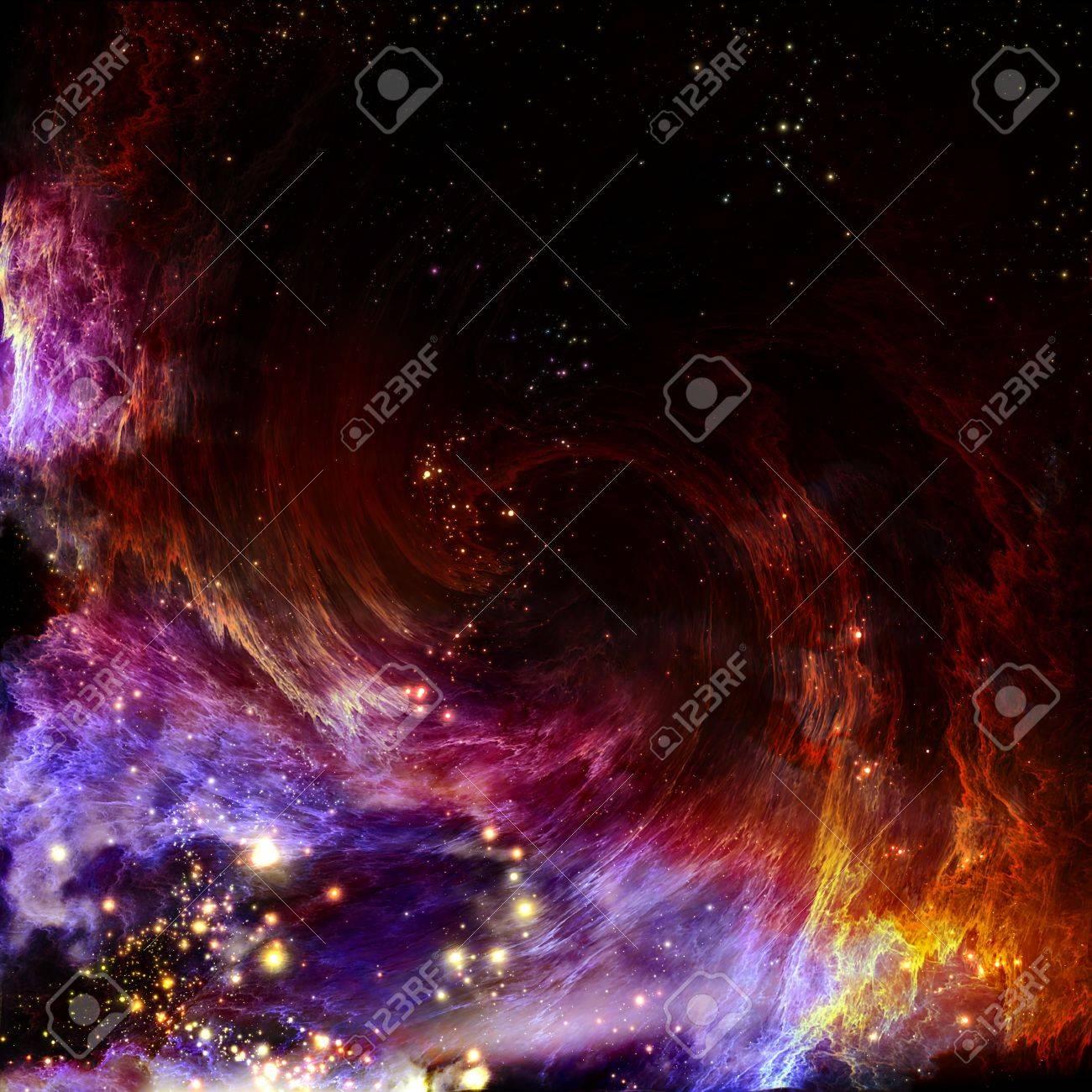 極地オーロラと星雲の切れ間から輝くし、新しい渦巻星雲の超新星の爆発 ...