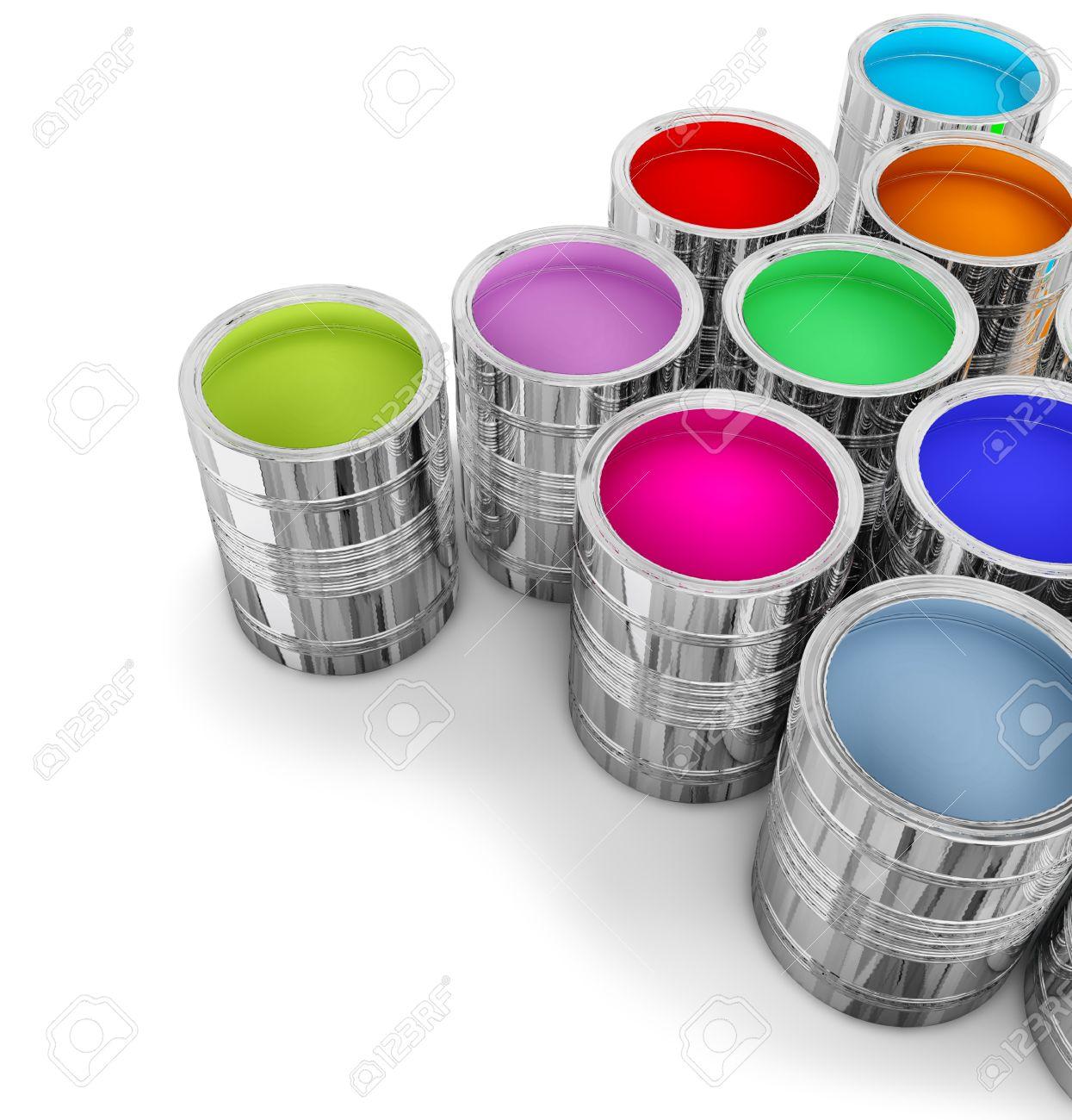 Dosen Mit Bunten Farben Für Die Wände Streichen Im Neuen Haus Standard Bild    12003099
