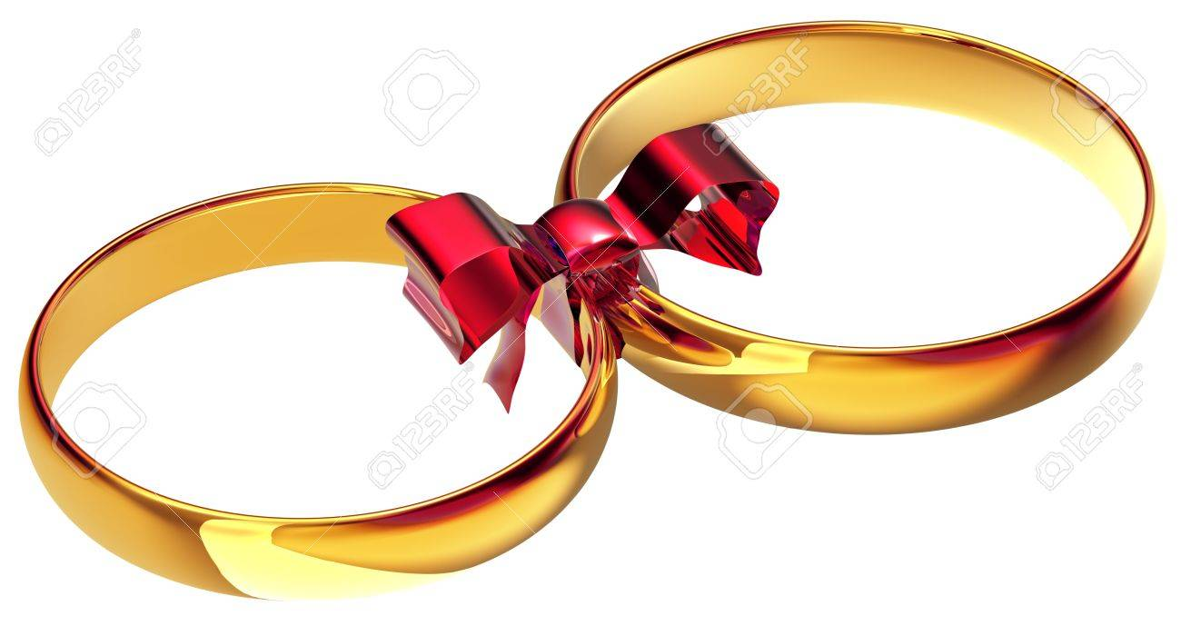 Gold Wedding Rings With The Silk Bow As A Symbol Of The Bond