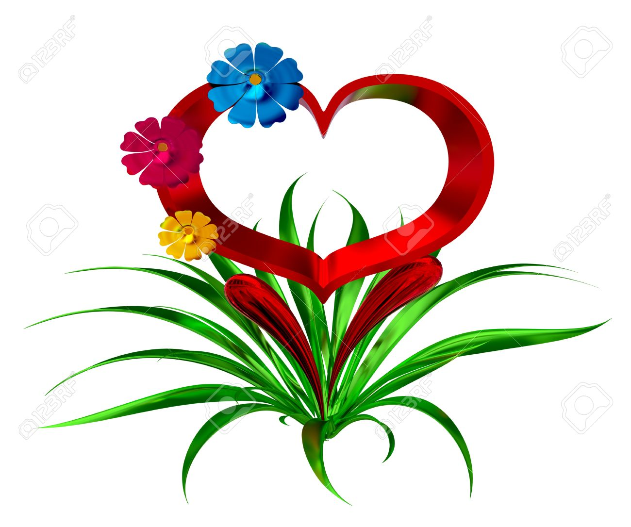 heart in leaves with flowers as a symbol of love stock photo