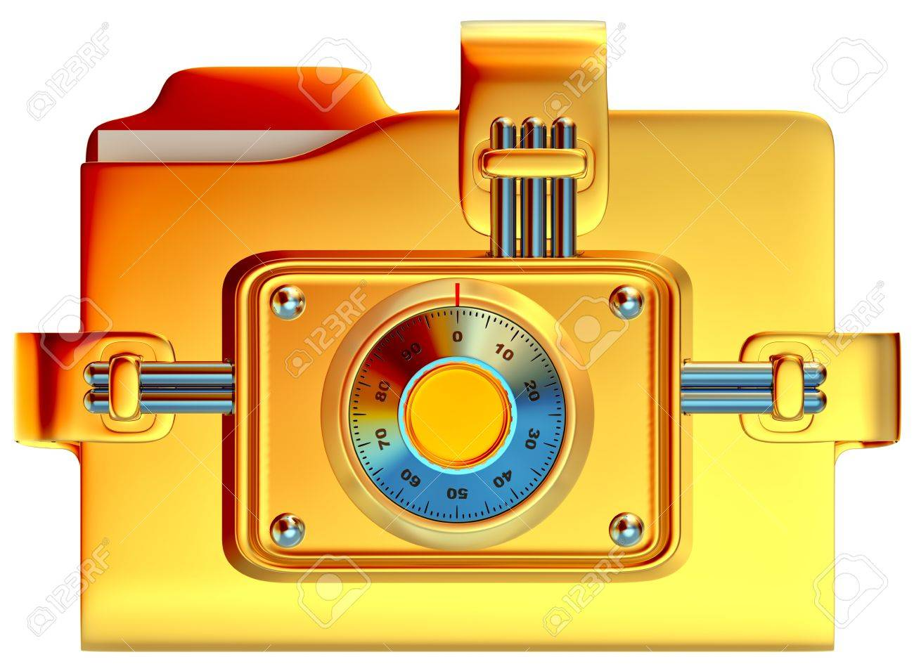 folder with golden combination lock stores confidential information Stock Photo - 14945520