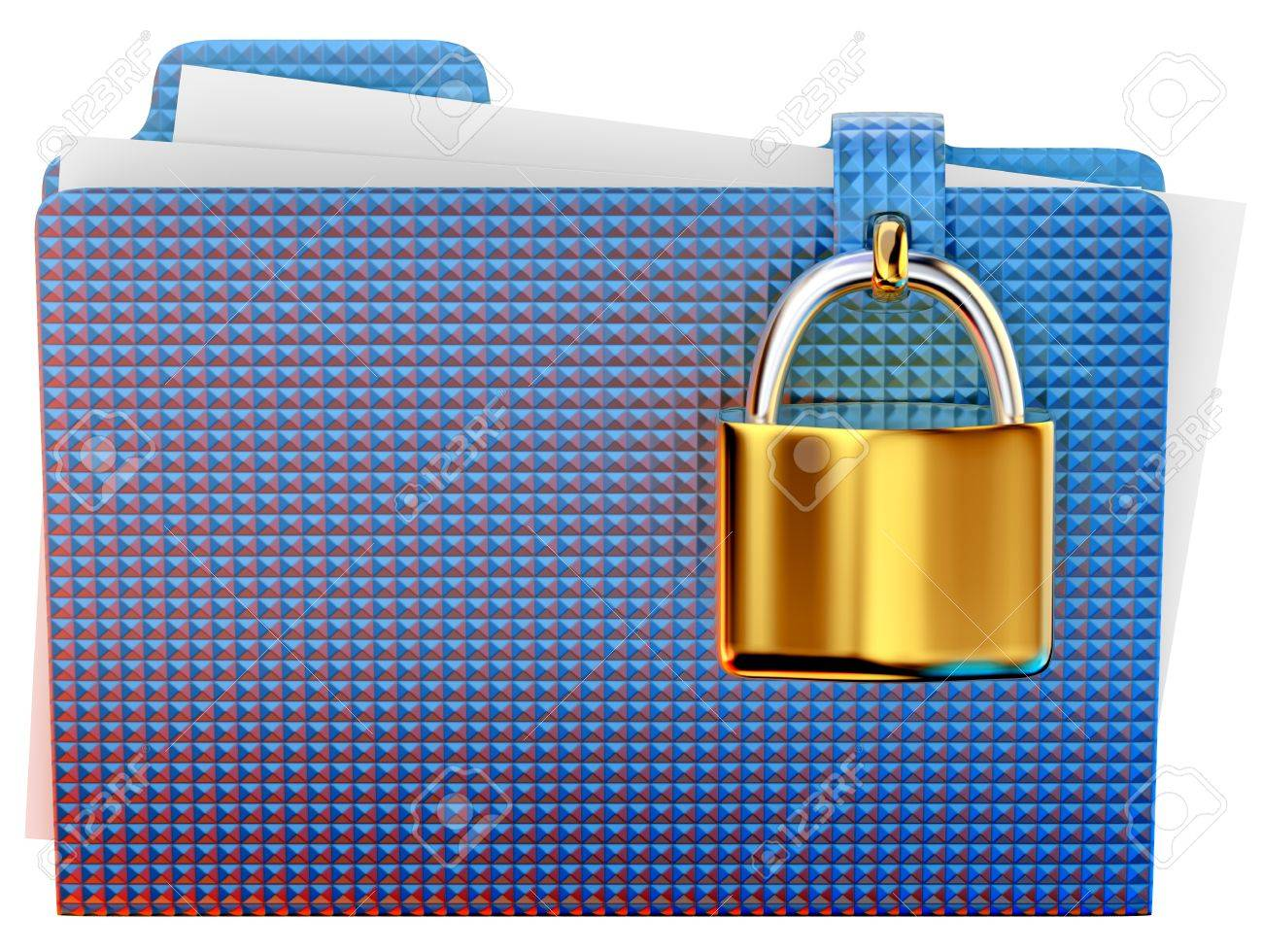 blue folder with golden hinged lock stores important information Stock Photo - 15506928
