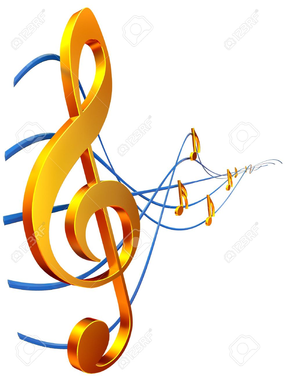Gold Musical Score With Treble Clef As A Symbol Of Music Creation