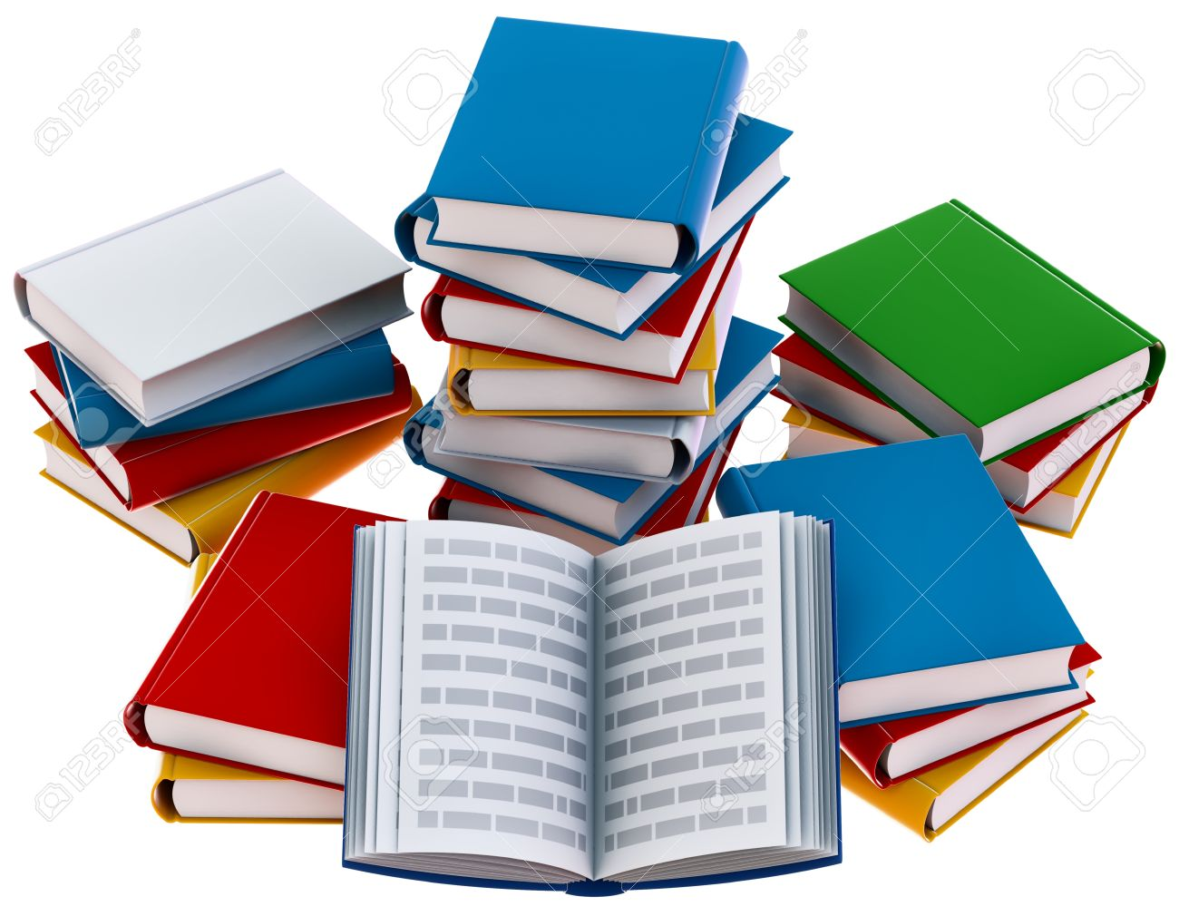group of open school books for education stock photo picture and