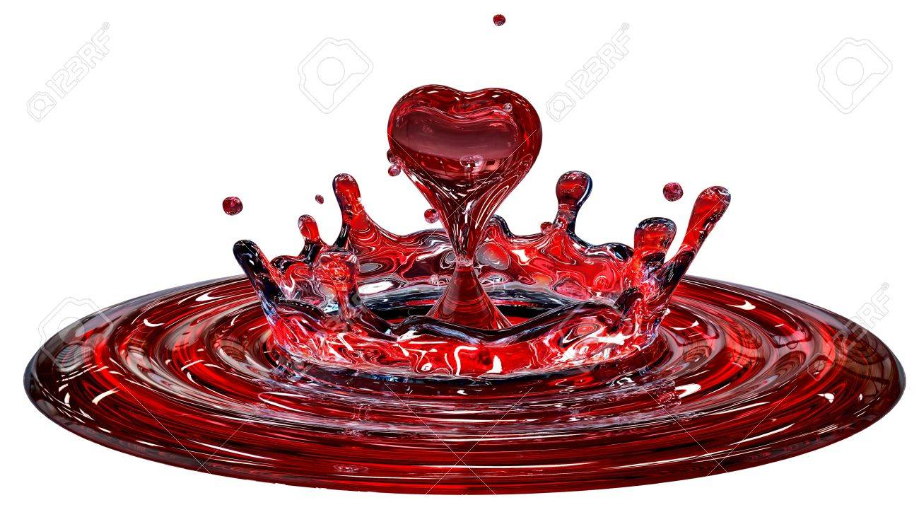 falling heart shaped water drop into the red water Stock Photo - 16053124