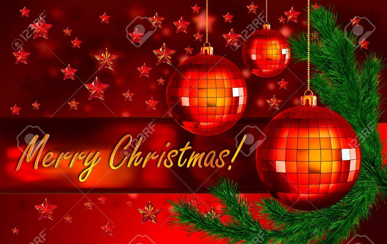 Red christmas background with the words merry christmas greetings red christmas background with the words merry christmas greetings decorated of green fir branch and m4hsunfo
