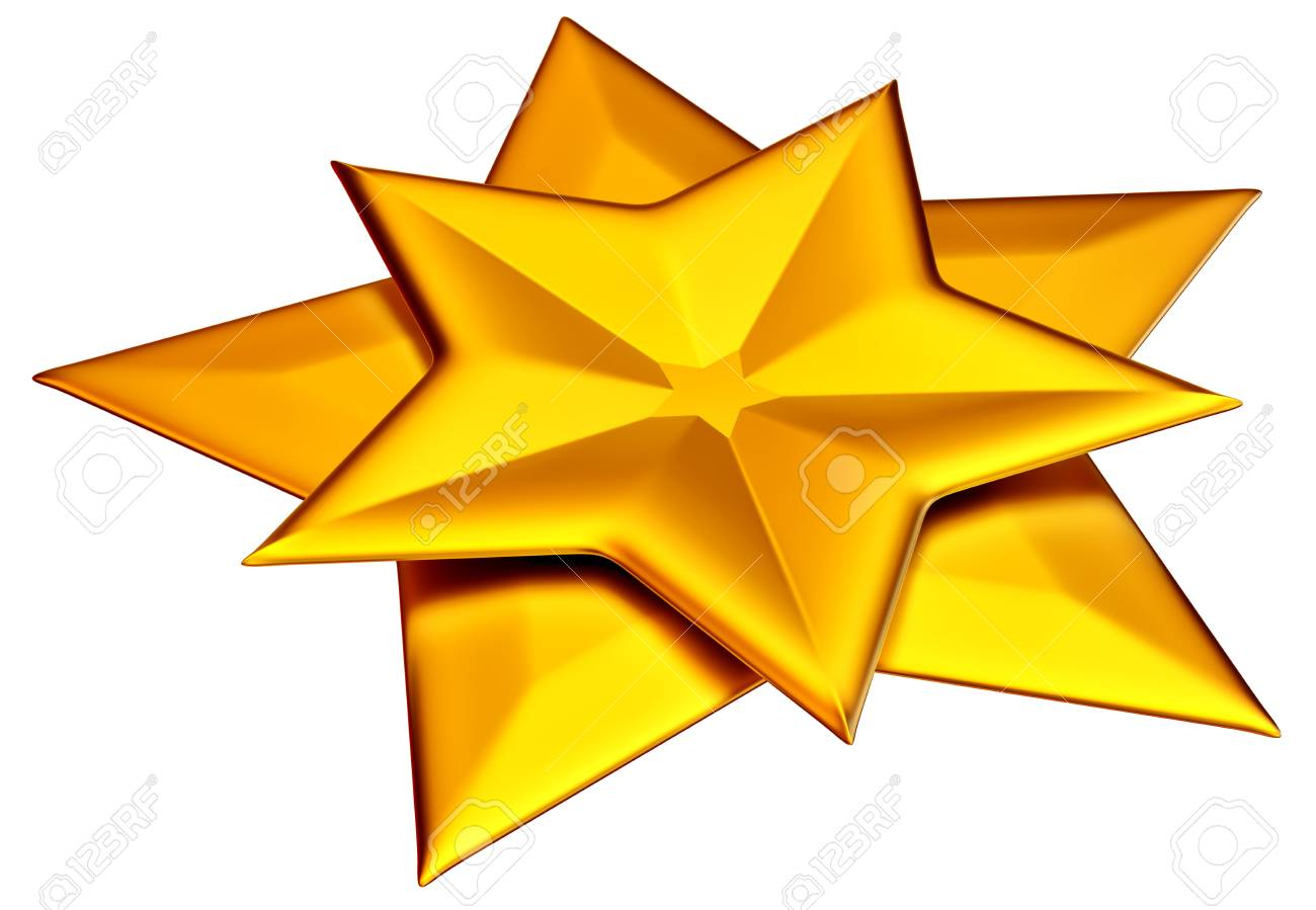 two shiny gold stars for advertise on a white background Stock Photo - 16230838