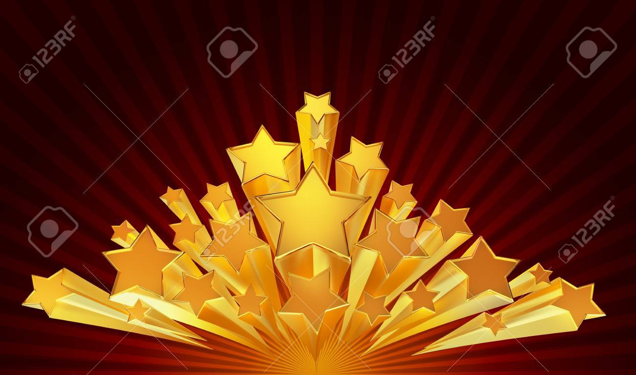 moving golden stars with zoom on brown background Stock Photo - 16626757