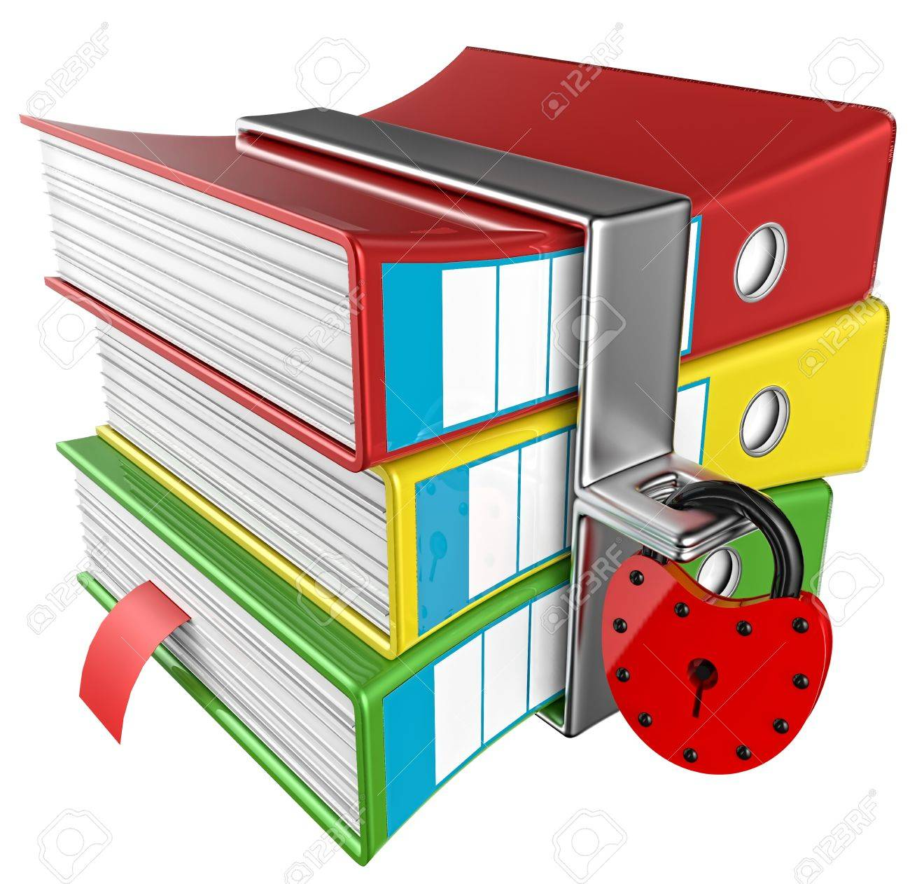 three colored folders with red hinged lock, stores important information Stock Photo - 16960562