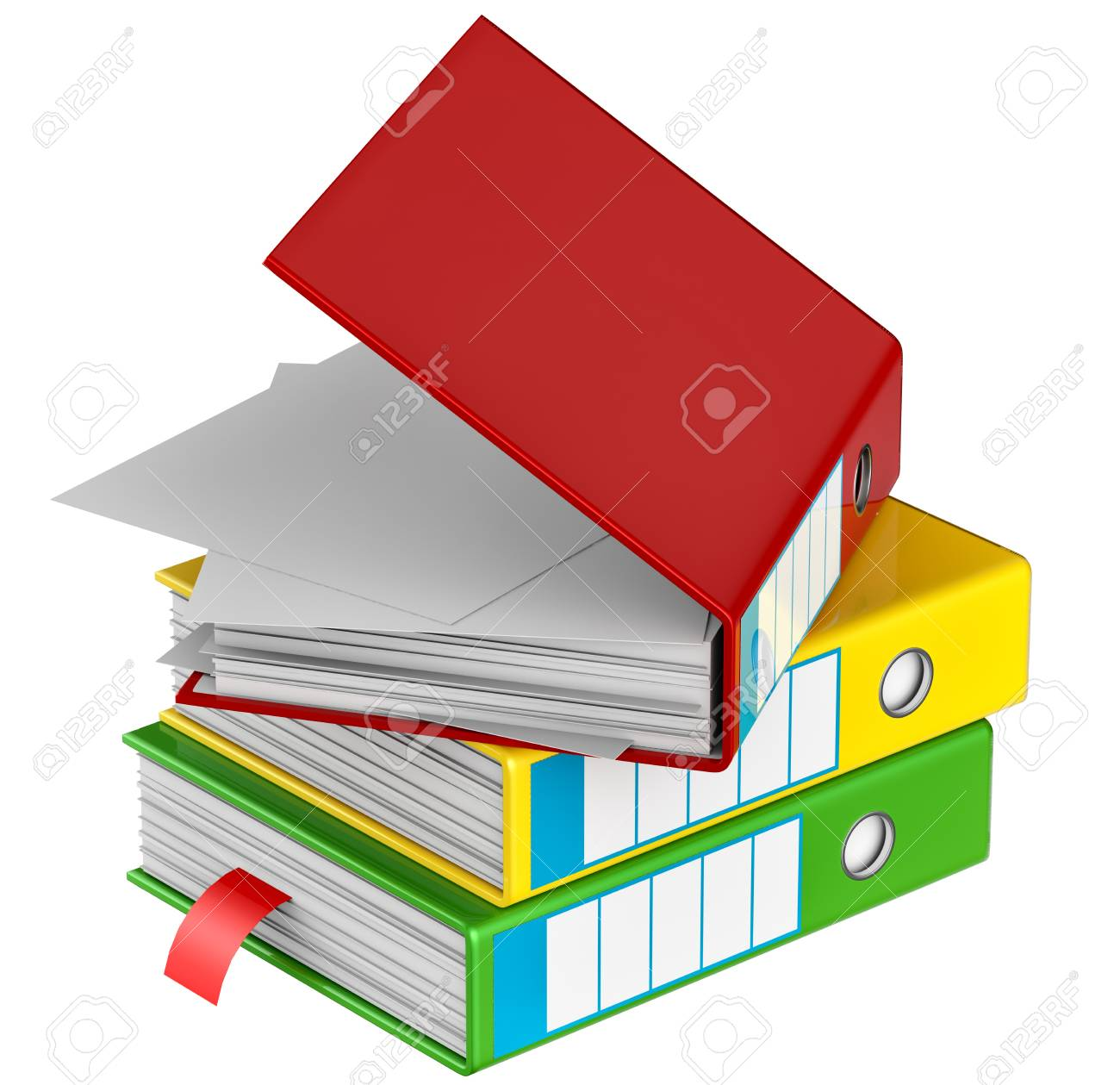 red, yellow, blue, green and black folders stores important documents on abstract background Stock Photo - 17843454