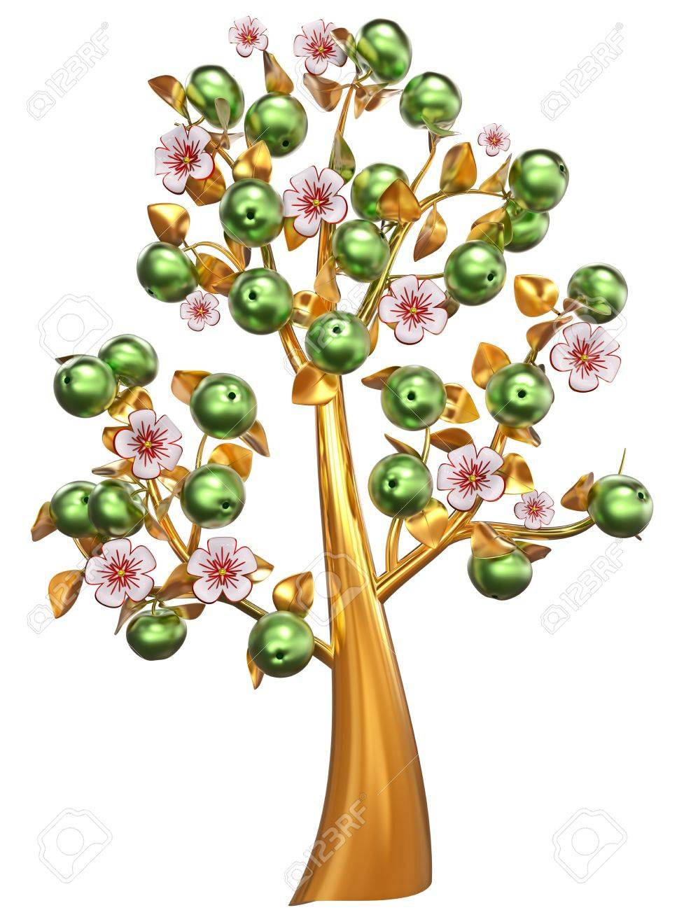 Beautiful golden apple-tree with impressive green apples, white flowers and golden leaves as jewelry Stock Photo - 18603033