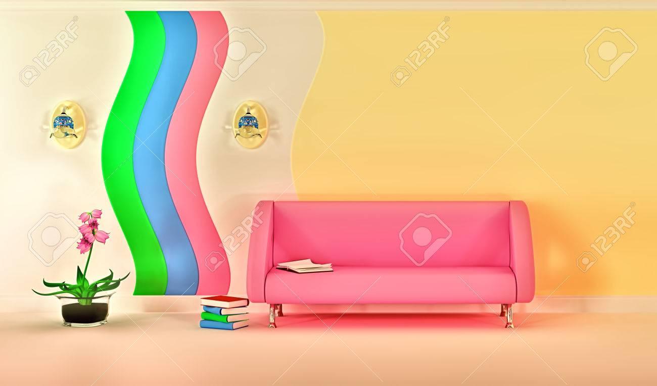 Vide ensoleillée élégant minimaliste salon moderne avec canapé rose