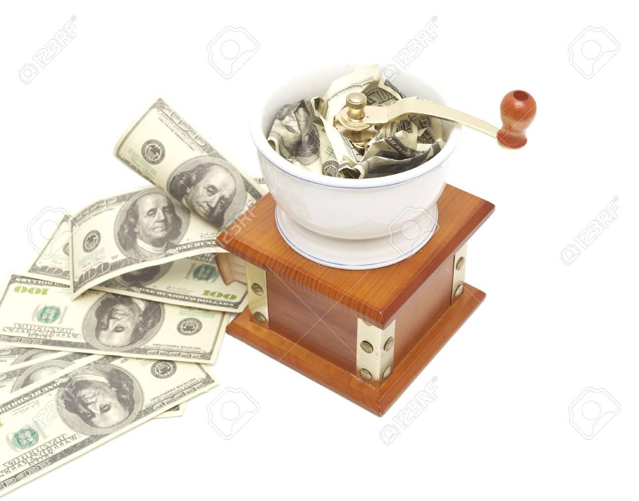 Faire changer de l'argent ou la monnaie: le dollar dans le moulin isolées Banque d'images - 6786291
