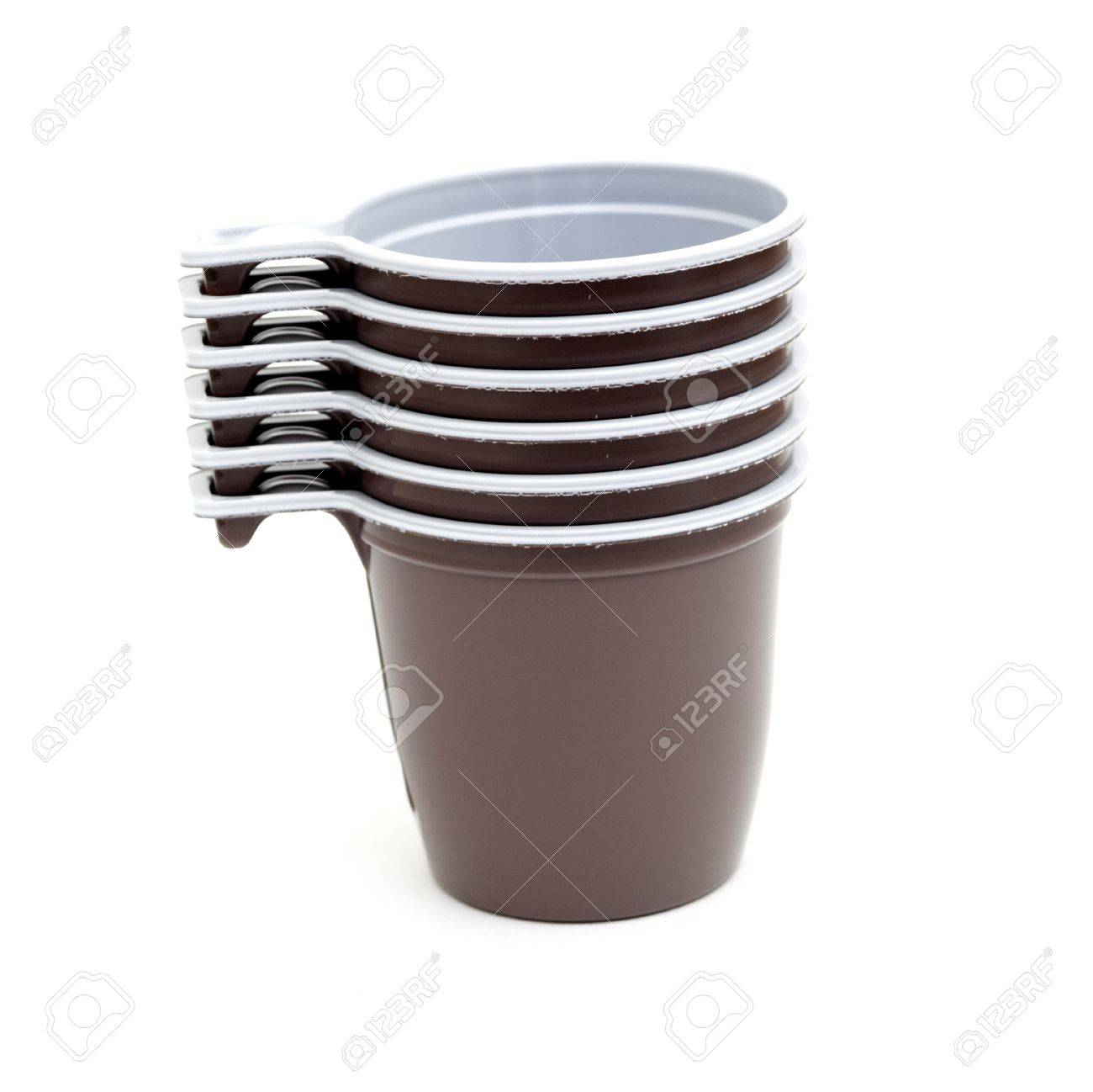 close up of plastic cup of coffee on white background Stock Photo - 8413367