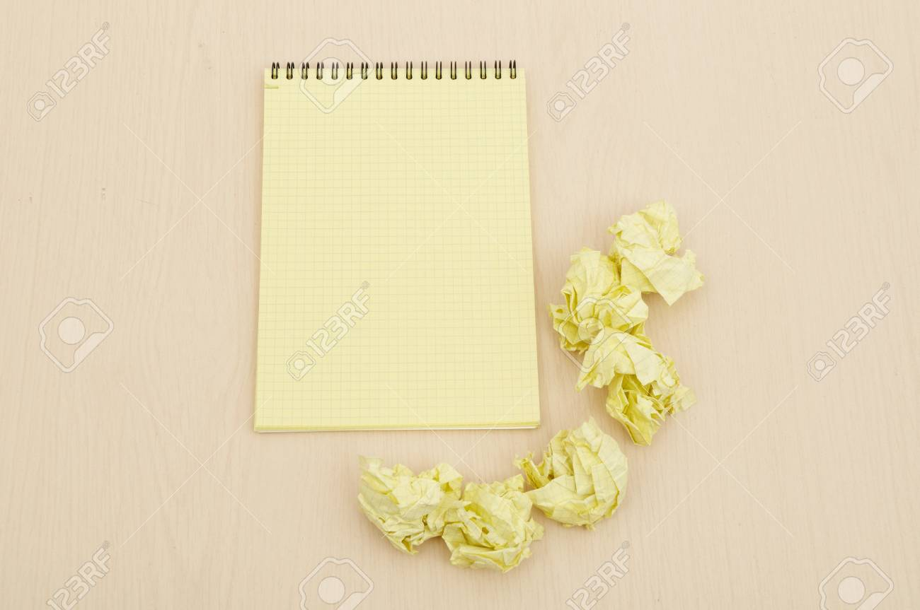 Notebook and crumpled paper Stock Photo - 8814830