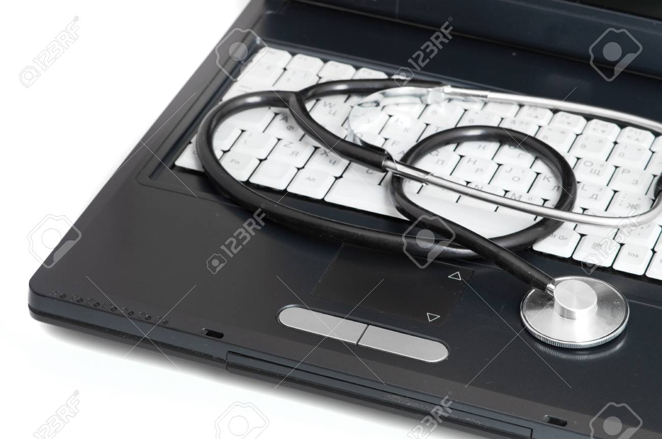computer concept with stethoscope on laptop, shallow dof Stock Photo - 13913305