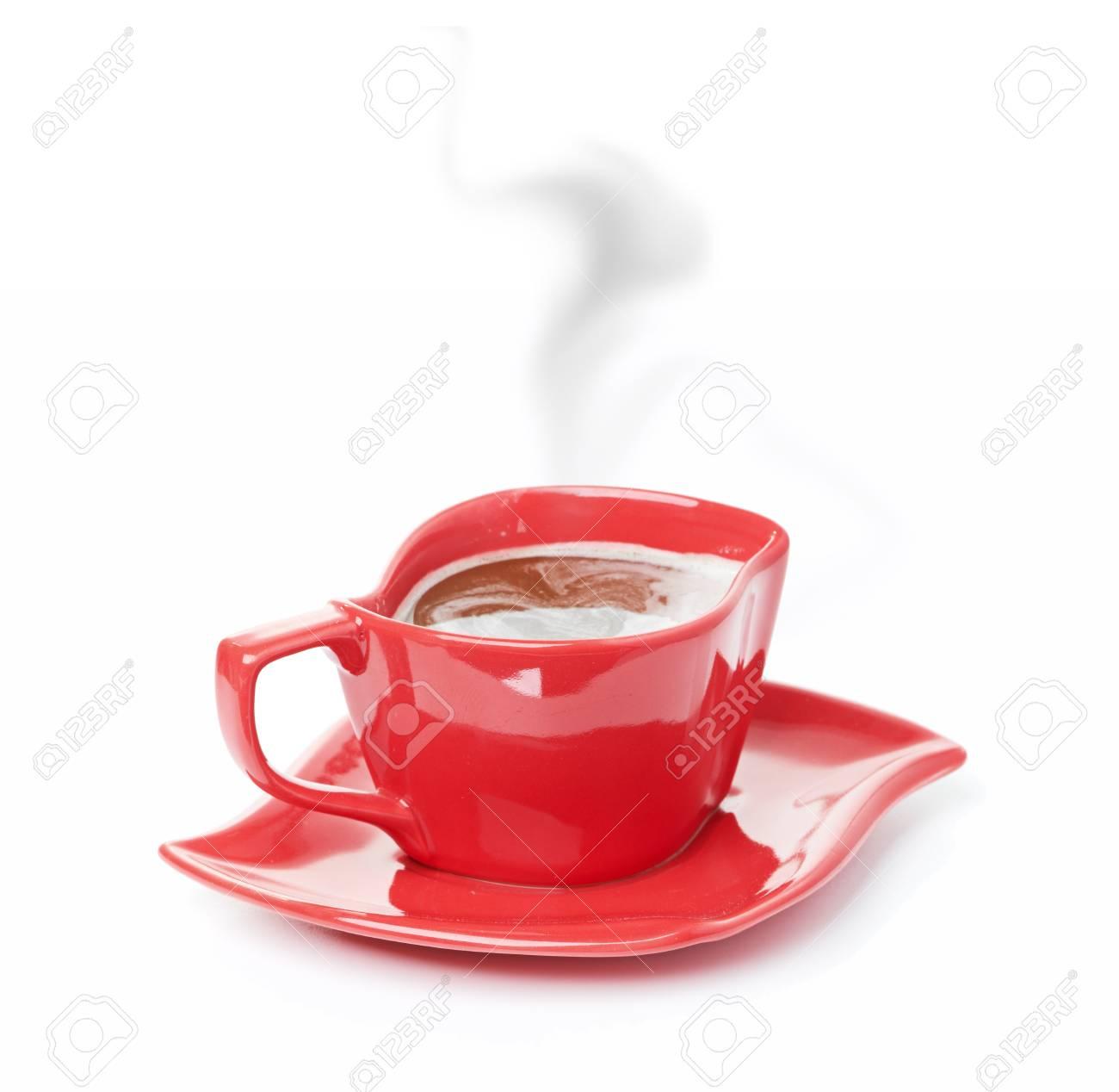 Immagini Stock Tazza Di Caffè Nero Sfondo Bianco Rosso Tazza Image