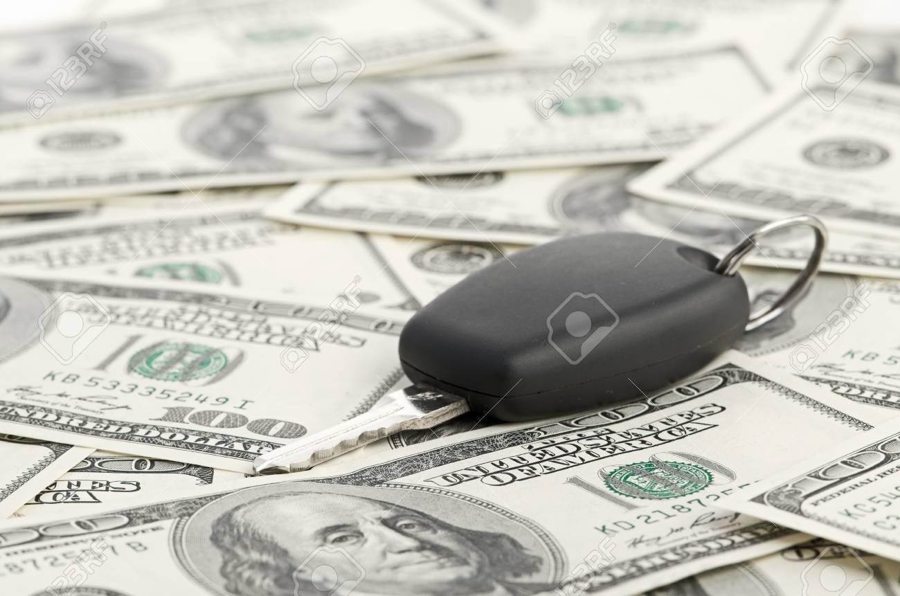 Car Key on 100 dollar background Stock Photo - 16554810