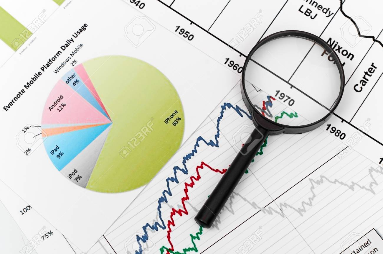 magnifying glass on graph business search Stock Photo - 18324707