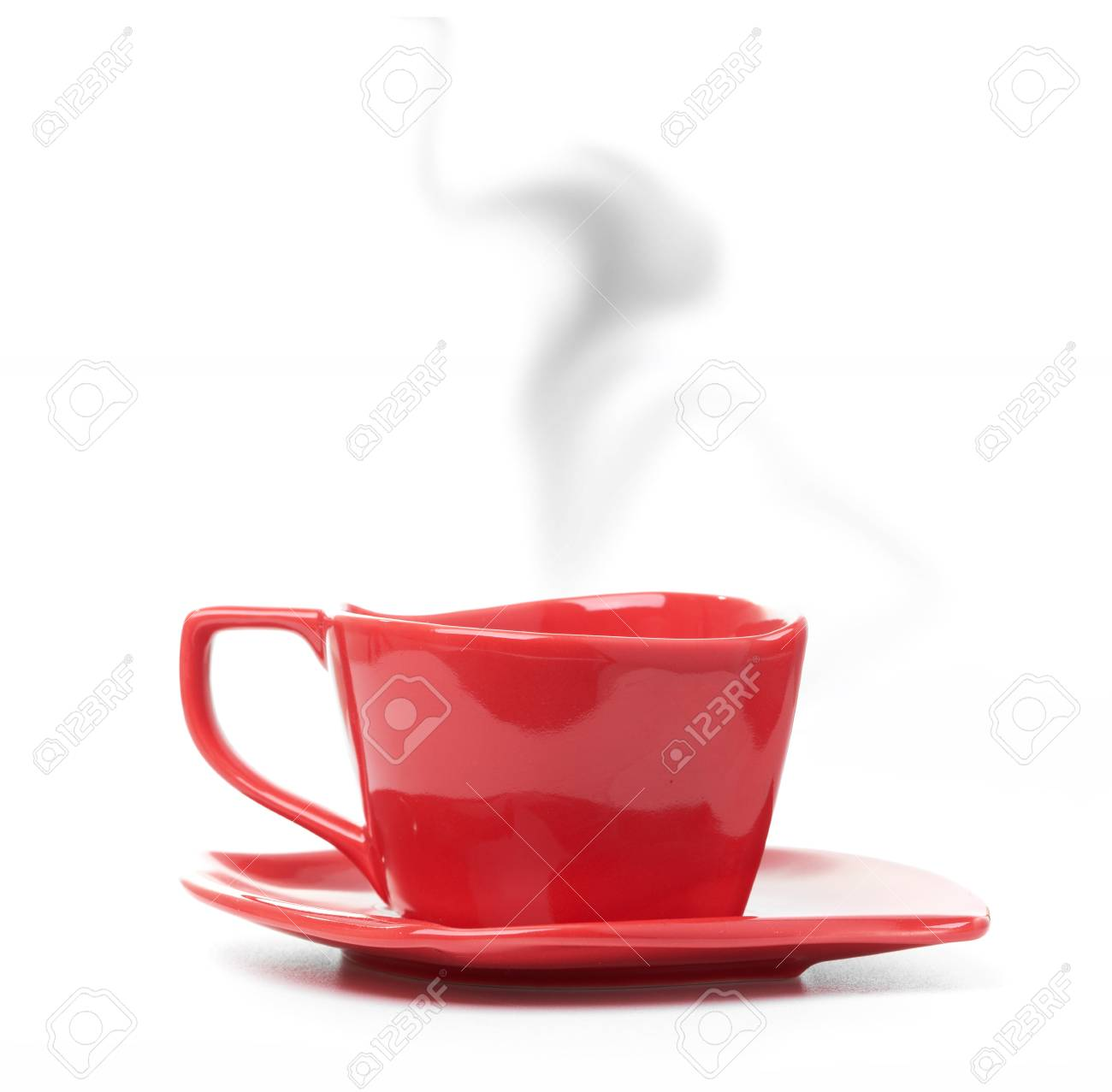 Immagini Stock Coppa Della Tazza Di Caffè Nero Sfondo Bianco Rosso